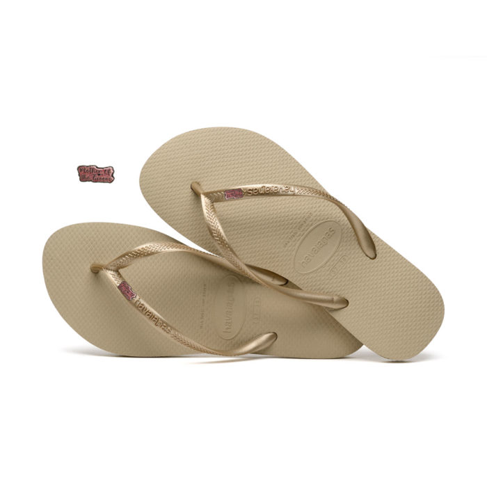 Havaianas Sand Grey Flip Flops with Pink Glitter Mother of the Groom Pin