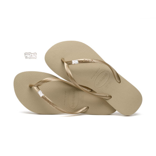 Havaianas Sand Grey Flip Flops with Silver Mother of the Groom Pin