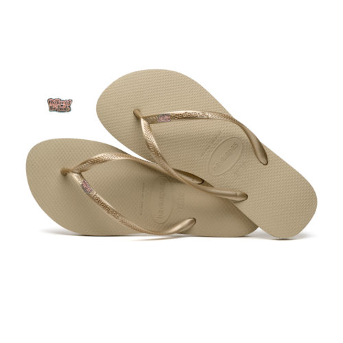 Havaianas Sand Grey Flip Flops with Pink Glitter Mother of the Bride Pin