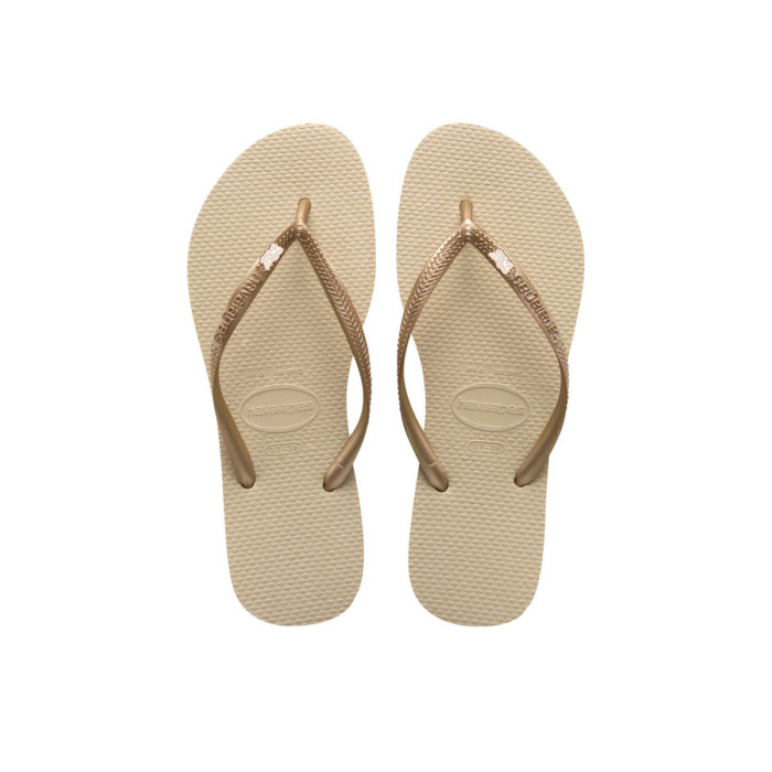 Havaianas Sand Grey Flip Flops with Rose Gold Mother of the Bride Pin