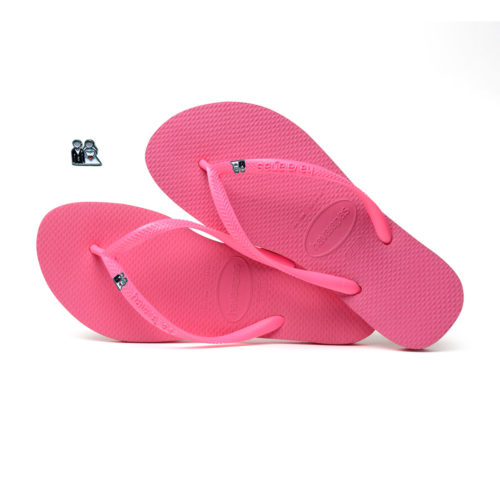 Havaianas Shocking Pink Flip Flops with Silver Bride & Groom Wedding