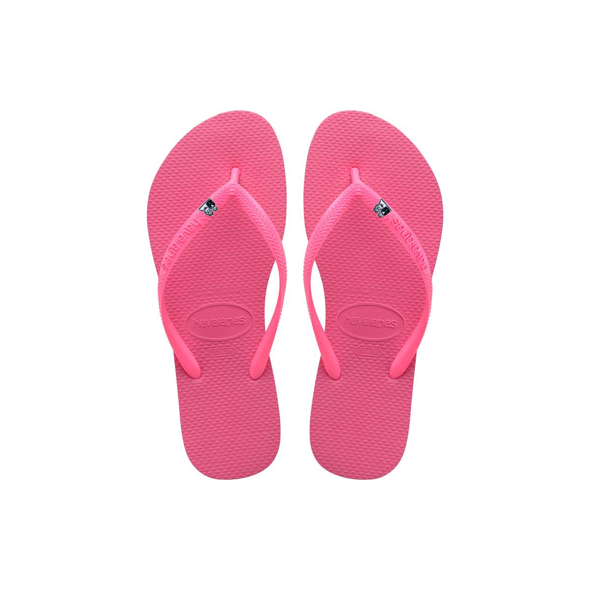 Havaianas Shocking Pink Flip Flops with Silver Bride & Groom Wedding