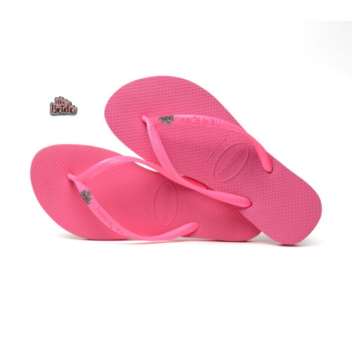 Havaianas Slim Shocking Pink Flip-Flops with 'The Bride' Charm Wedding
