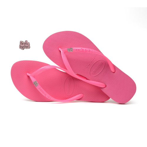 Havaianas Shocking Pink Flip Flops with Pink Glitter Bride Squad Charm