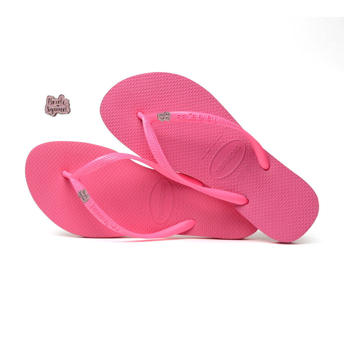 Havaianas Shocking Pink Flip Flops with Pink Glitter Bride Squad Charm