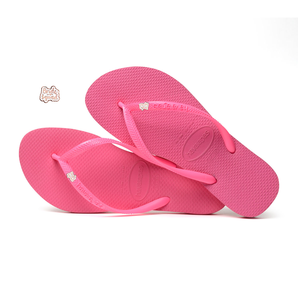 Havaianas Shocking Pink Flip Flops with Rose Gold Bride Squad Pin
