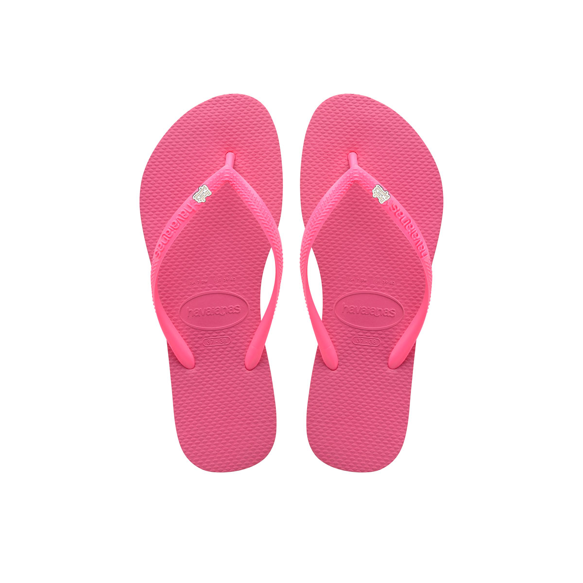 Havaianas Shocking Pink Flip Flops with Silver & White Bride Squad Pin
