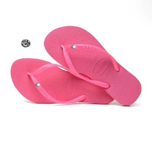 Havaianas Shocking Pink Flip Flops with Silver Crystal Wedding Gift