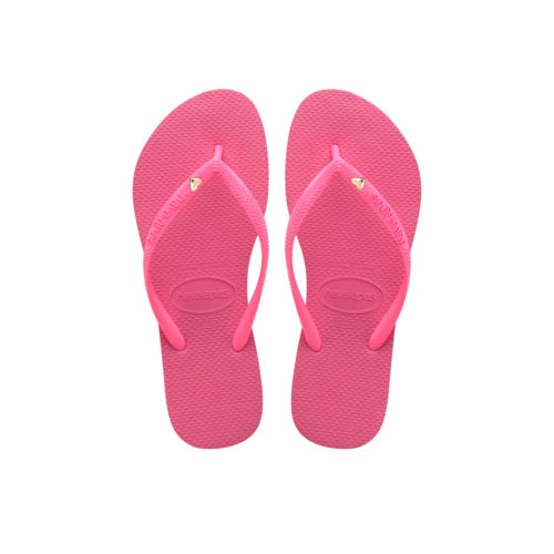 Havaianas Shocking Pink Flip-Flop with Gold Heart Wedding Personalised