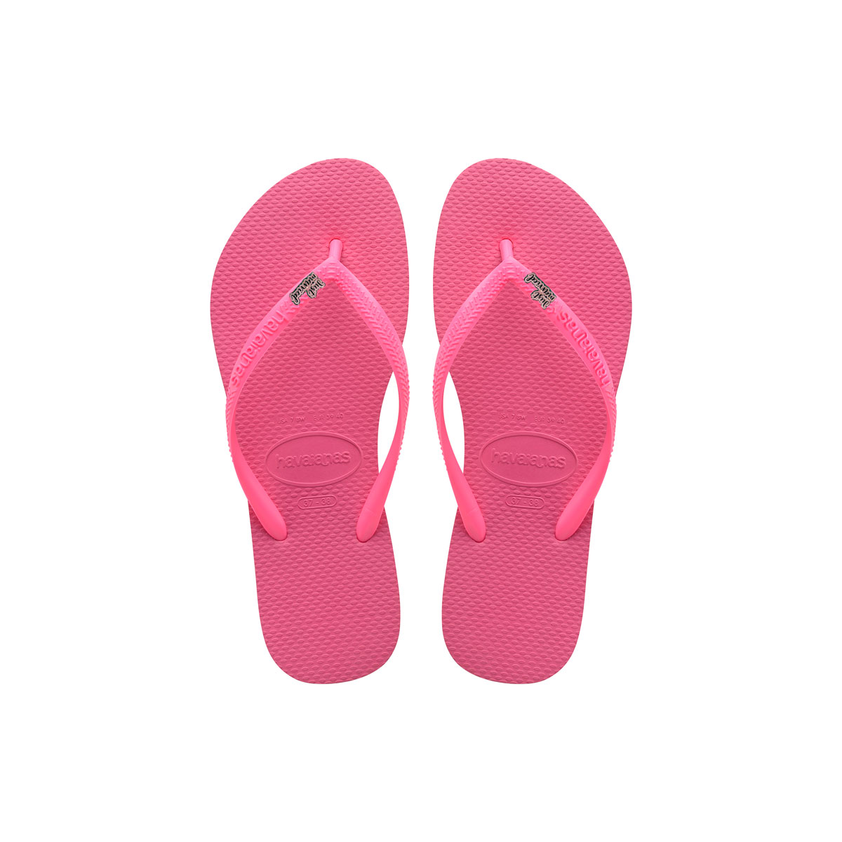 Havaianas Shocking Pink Flip Flops with Pink Glitter Just Married Charm