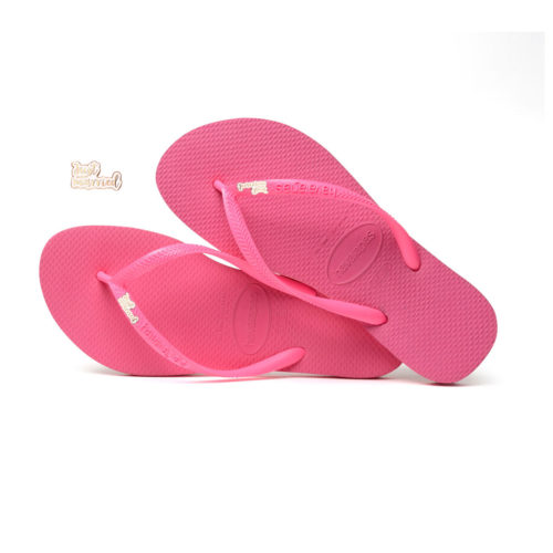 Havaianas Shocking Pink Flip Flops with Rose Gold Just Married Charm
