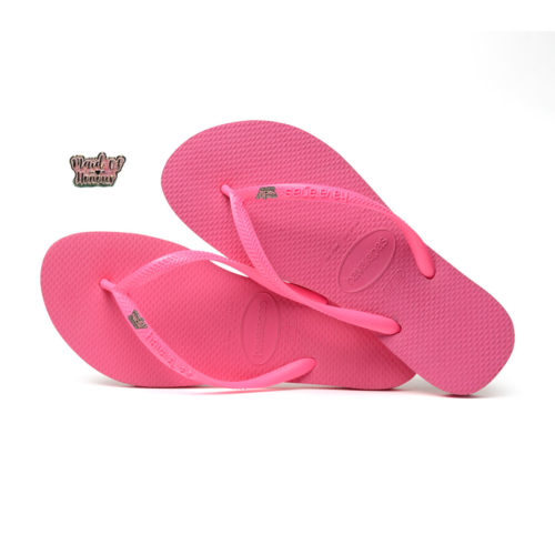 Havaianas Shocking Pink Flip Flops with Pink Glitter White Maid of Honour
