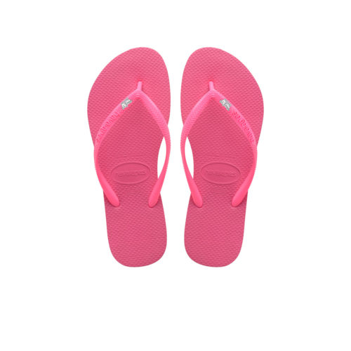 Havaianas Shocking Pink Flip Flops with Silver White Maid of Honour Pin