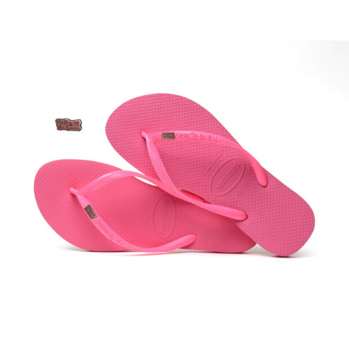 Havaianas Shocking Pink Flip Flops with Pink Glitter Mother of the Groom