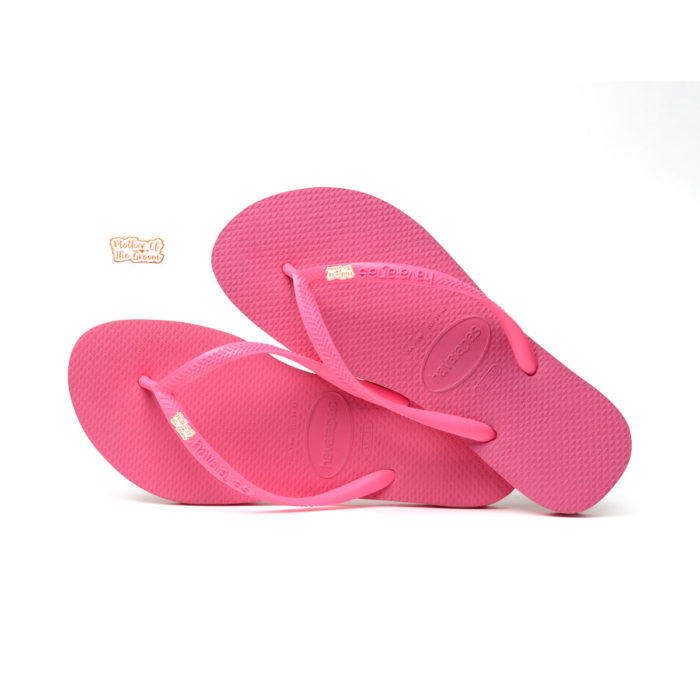 Havaianas Shocking Pink Flip Flops with Rose Gold Mother of the Groom