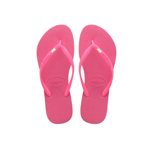 Havaianas Shocking Pink Flip Flops with Rose Gold Mother of the Bride