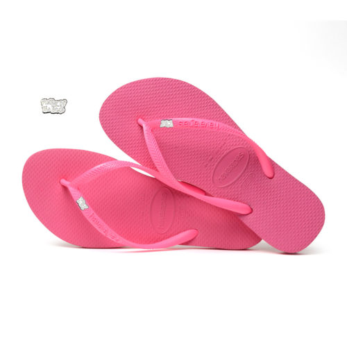 Havaianas Shocking Pink Flip Flops with Silver White Mother of the Bride