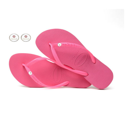 Havaianas Shocking Pink Flip Flops with Silver Mrs & Mrs Charm Wedding