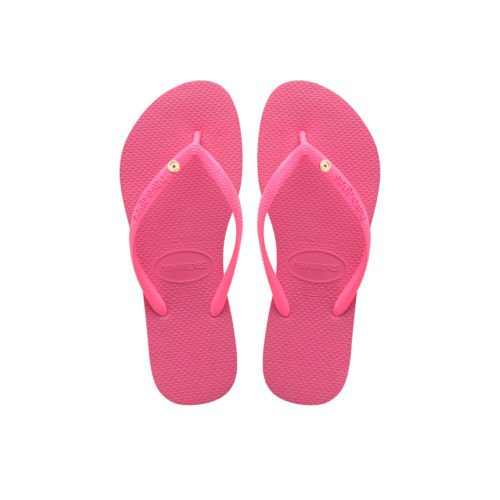 Havaianas Slim Shocking Pink Flip-Flops with Rose Gold Charm Personalised