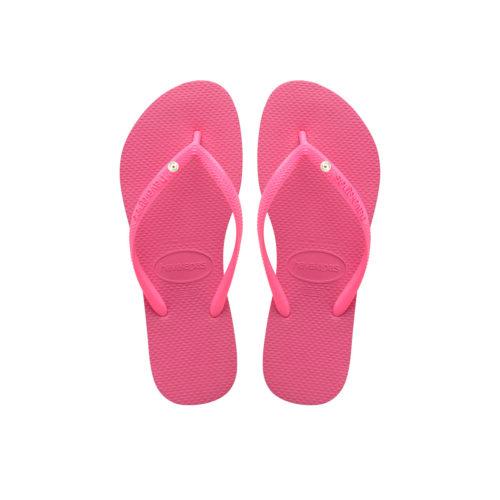 Havaianas Slim Shocking Pink Flip-Flops with Silver Charm Personalised