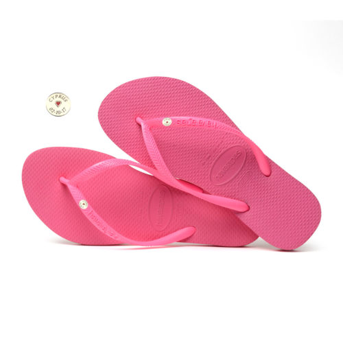 Havaianas Slim Shocking Pink Flip-Flops with Silver Charm Personalised