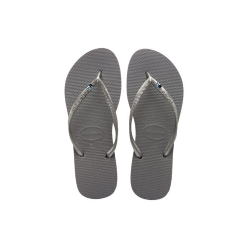 Havaianas Silver Flip Flops with Silver Bride & Groom Wedding Charm