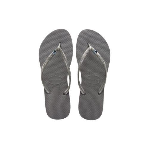 Havaianas Silver Flip Flops with Silver Bride & Groom Wedding Charm