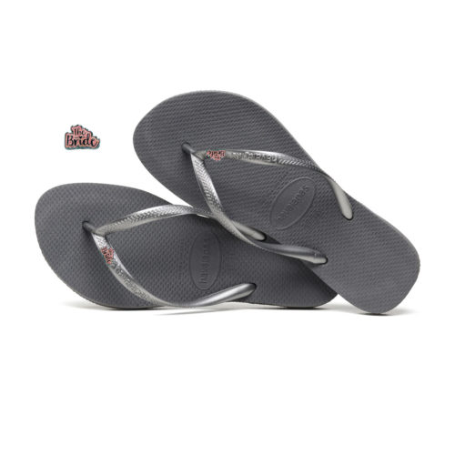 Havaianas Slim Silver Pink Flip-Flops with 'The Bride' Charm Wedding