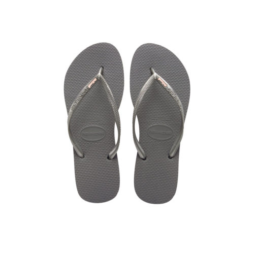 Havaianas Silver Flip Flops with Rose Gold Bridesmaid Charm Wedding