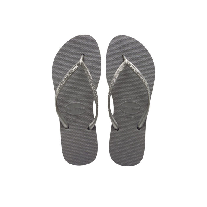 Havaianas Silver Flip Flops with Silver & White Bridesmaid Charm
