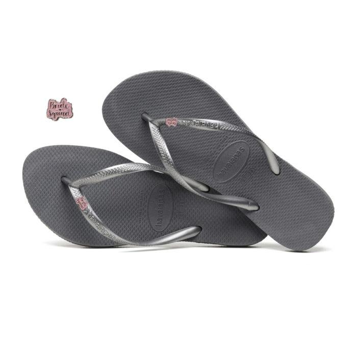 Havaianas Slim Silver Flip Flops with Pink Glitter Bride Squad Charm