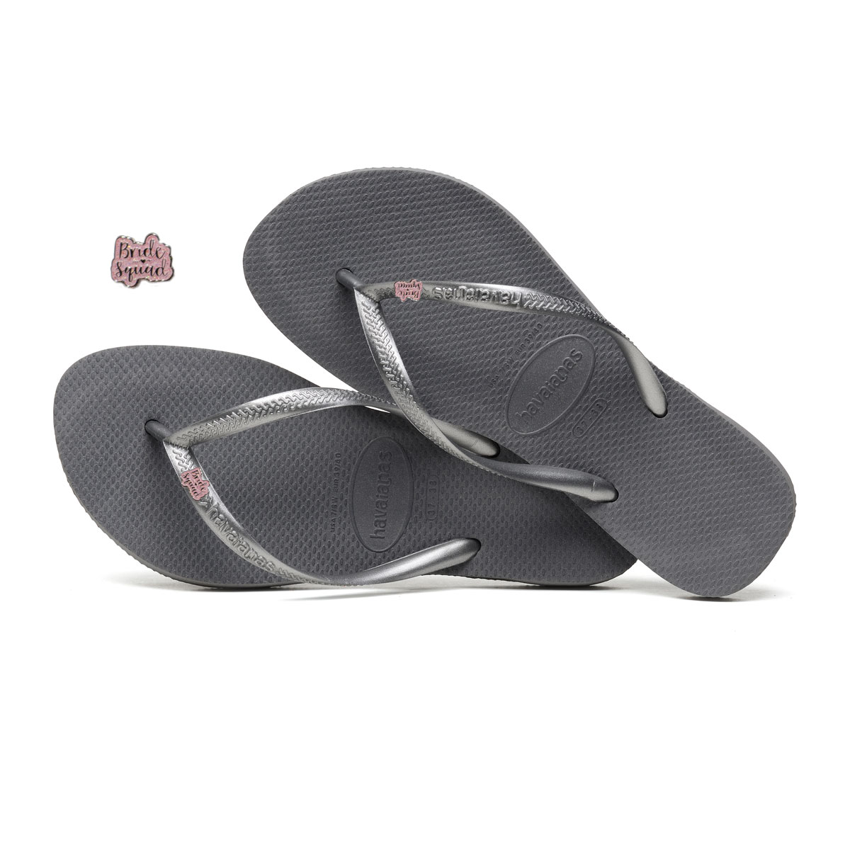 Havaianas Slim Silver Flip Flops with Pink Glitter Bride Squad Charm
