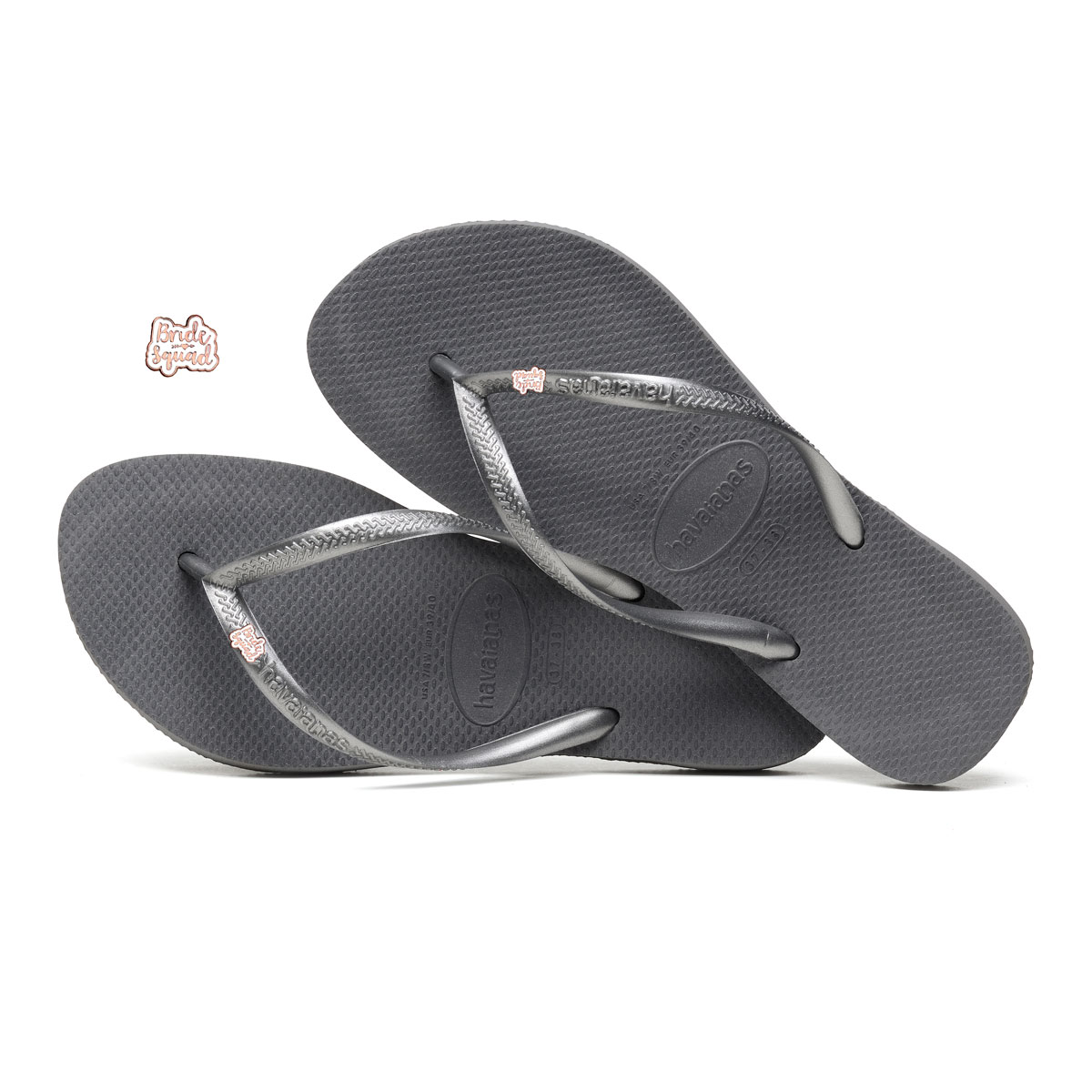 Havaianas Slim Silver Flip Flops with Rose Gold Bride Squad Charm
