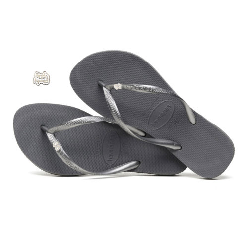 Havaianas Slim Silver Flip Flops with Silver & White Bride Squad Charm