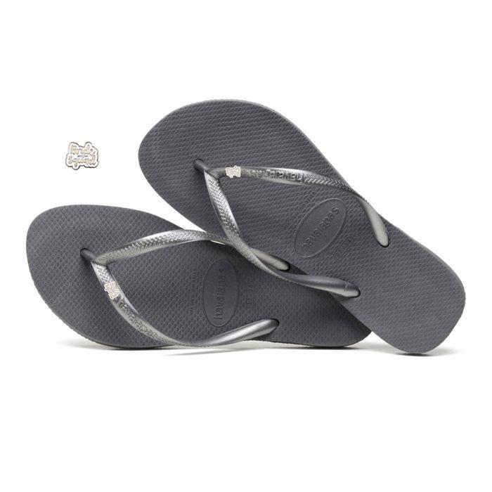 Havaianas Slim Silver Flip Flops with Silver & White Bride Squad Charm