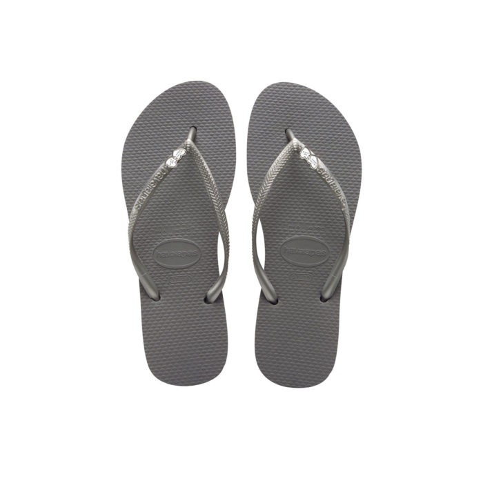 Havaianas Slim Silver Flip-Flops with Heart Charm Personalised Wedding