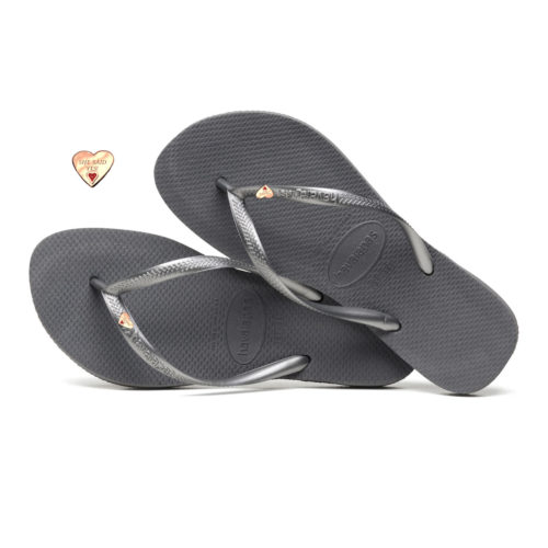 Havaianas Silver Flip-Flops with Gold Heart Charm Personalised Wedding