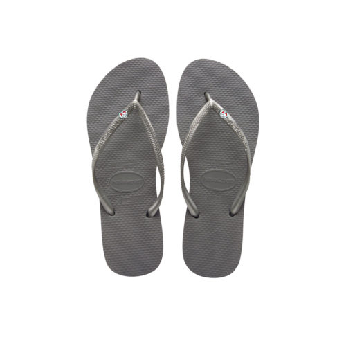 Havaianas Silver Flip-Flops with Hen Do Charm Personalised Wedding