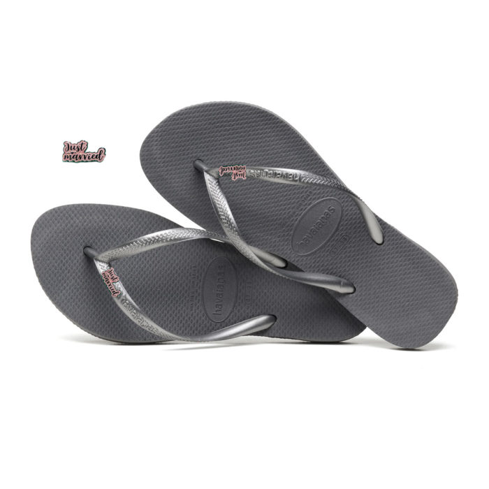 Havaianas Silver Flip Flops with Pink Glitter Just Married Charm Wedding