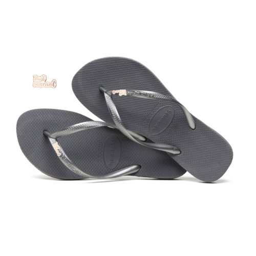 Havaianas Silver Flip Flops with Rose Gold Just Married Charm Wedding