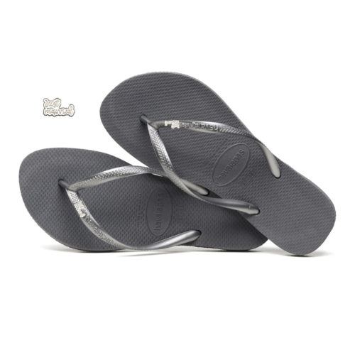 Havaianas Silver Flip Flops with Silver White Just Married Charm Wedding
