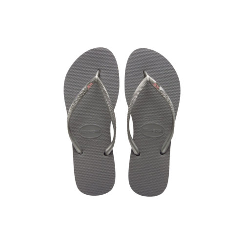 Havaianas Slim Silver Flip Flops with Pink Glitter Maid of Honour Pin