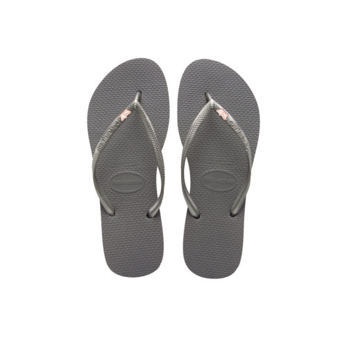 Havaianas Slim Silver Flip Flops with Rose Gold Maid of Honour Charm