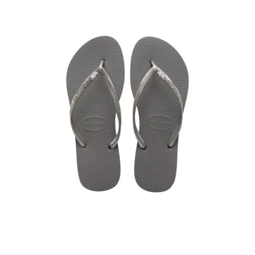 Havaianas Slim Silver Flip Flops with Silver White Maid of Honour Pin