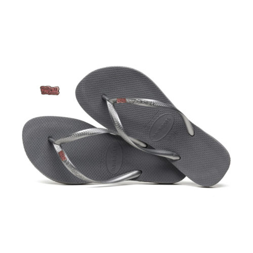 Havaianas Slim Silver Flip Flops with Pink Glitter Mother of the Groom Pin