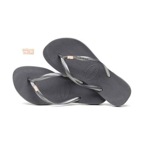 Havaianas Silver Flip Flops with Rose Gold Mother of the Groom Charm