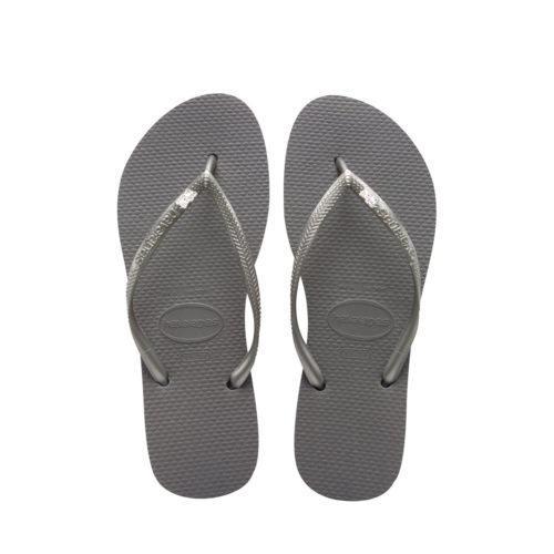 Havaianas Slim Silver Flip Flops with Silver Mother of the Groom Charm
