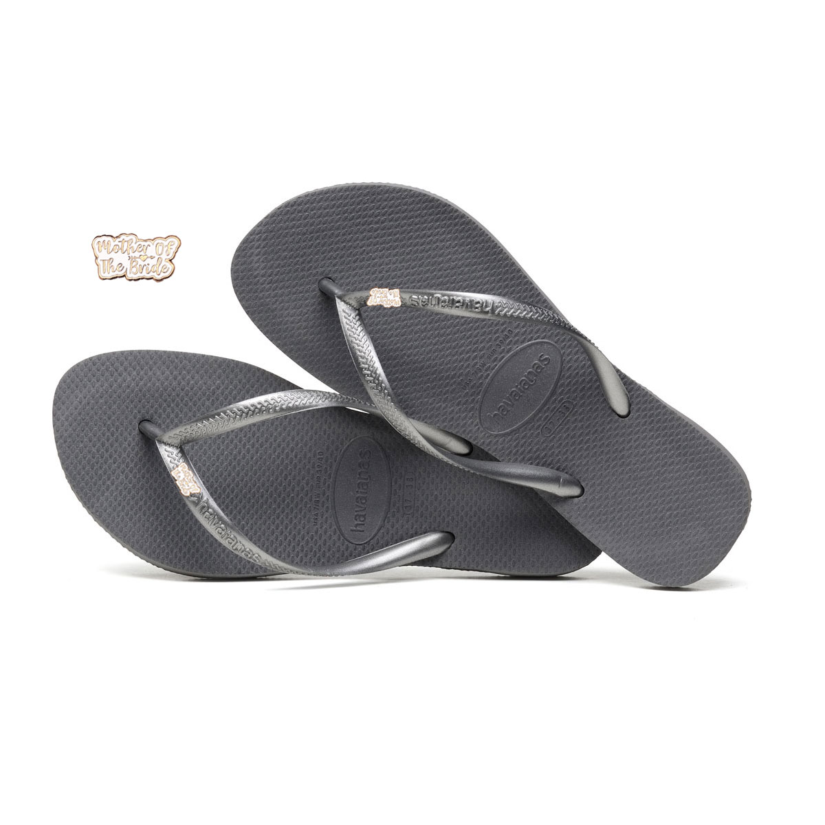 Havaianas Silver Flip Flops with Rose Gold Mother of the Bride Pin