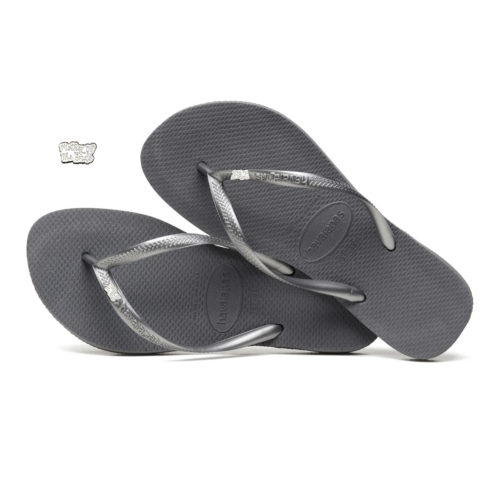 Havaianas Slim Silver Flip Flops with Silver White Mother of the Bride Pin