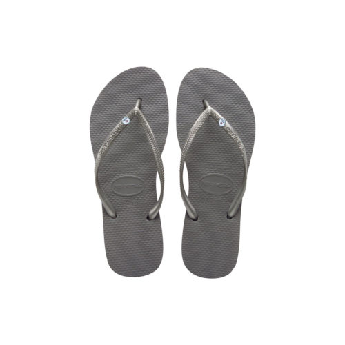 Havaianas Slim Silver Flip Flops with Silver Mrs & Mrs Wedding Charm